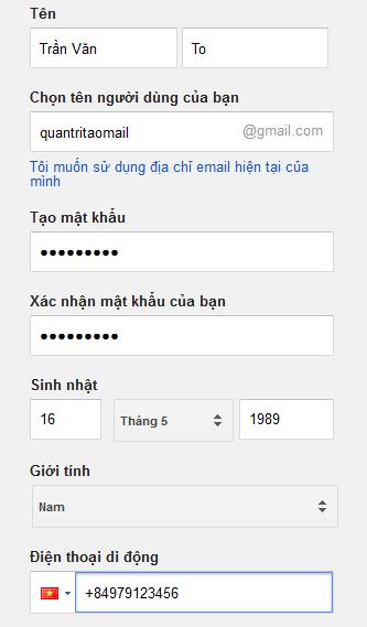 tao tai khoan gmail