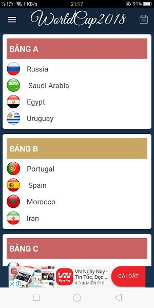 lịch thi đấu World cup 2018 trên điện thoại