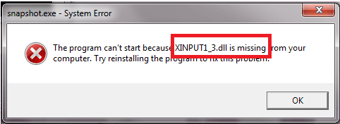 xinput1_3 dll is missing from your computer