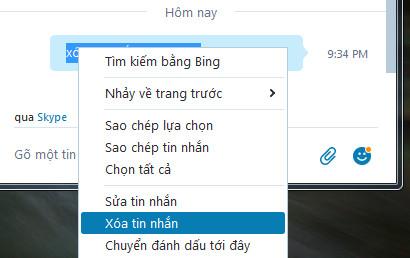 xóa tin nhắn đã gửi trong skype