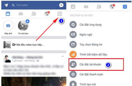 đổi pass facebook trên android