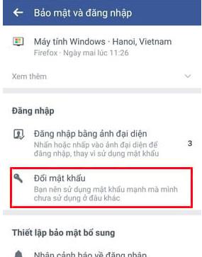 thay đổi pass facebook trên android