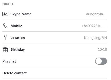 gửi liên lạc skype