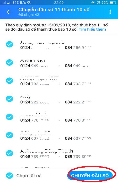 hướng dẫn dùng zalo để chuyển đổi sim 11 số thành 10 số