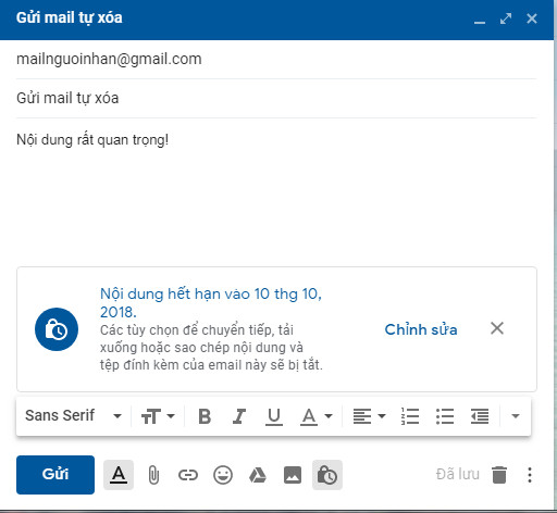gửi gmail tự xóa 1 tuần