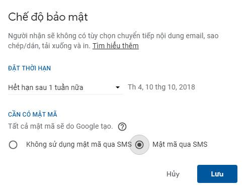 gửi gmail tự xóa 1 ngày