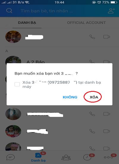 Cách xóa bạn zalo trên điện thoại, chặn bạn bè trên điện thoại