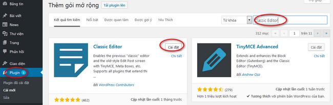 Trở lại trình soạn thảo trong WordPress