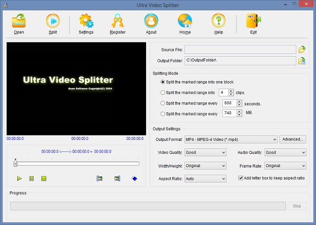 Phần mềm Ultra Video Splitter