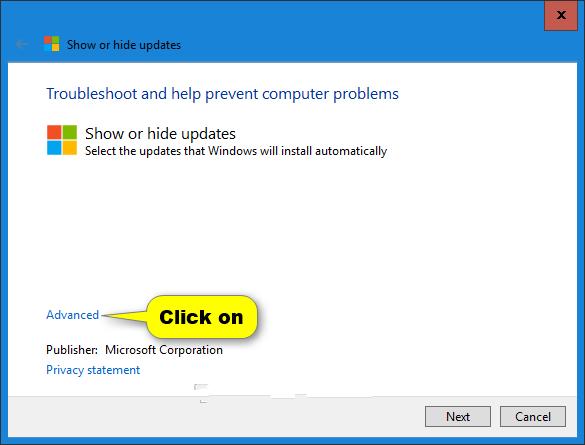 Tắt chế độ tự động cập nhật trên Windows với Show or hide update