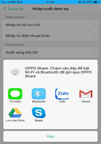 xuất danh bạ điện thoại Oppo 2020
