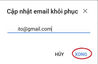 làm thế nào thêm email khôi phục gmail 2019