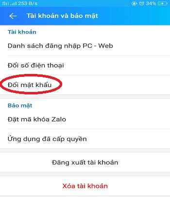 Đổi mật khẩu Zalo 2019